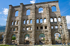 Roman theater in Aosta. Italy Royalty Free Stock Image