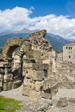 Roman theater in Aosta Stock Images