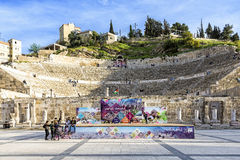 Roman Theater as seen from the Hashemite plaza in Amman, Jordan royalty free stock image
