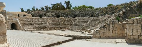 Roman Theater in Beit Shean in Israël stock afbeeldingen