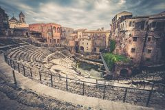 Roman Theater of Catania, Italy. Its appearance dates back to the second century and has been highlighted since the end of the 19th century Royalty Free Stock Images