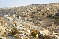 Roman theater and city view of Amman, Jordan. In the morning stock photos