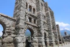 Roman Theater de Aosta Fotografía de archivo
