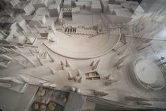 Roman Theater del modello di scala di Cartagine e della zona circostante, Murcia, Spagna immagini stock libere da diritti