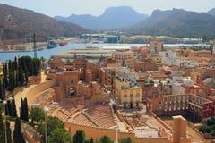 Roman theater en ruïnes van kathedraal Cartagena, Spanje Royalty-vrije Stock Foto's