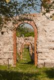 Roman theater of the first century BC in Gubbio. Three arches of an ancient Roman theater still well preserved Stock Image
