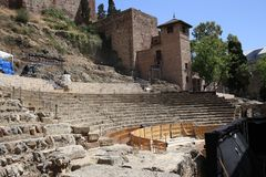 Roman theater of malaga in Andalusia Spain. The roman theater of malaga in Andalusia, south of Spain. It is a good place to visit and cultural tourism in the Royalty Free Stock Image