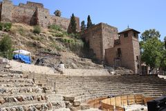 Roman theater of malaga in Andalusia Spain. The roman theater of malaga in Andalusia, south of Spain. It is a good place to visit and cultural tourism in the Royalty Free Stock Photography
