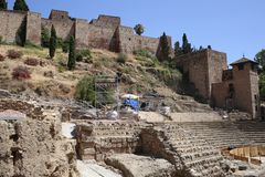 Roman theater of malaga in Andalusia Spain. The roman theater of malaga in Andalusia, south of Spain. It is a good place to visit and cultural tourism in the Stock Image