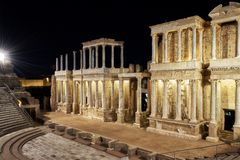 Roman theater merida stock image