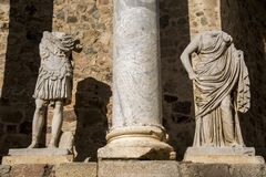 Roman Theater of Merida, Spain, 1st century BC. Decorative statues in a splendid day with blue sky stock images