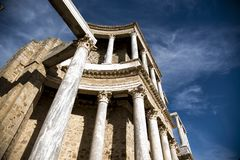 Roman Theater of Merida, Spain, 1st century BC. In a splendid day with blue sky royalty free stock image