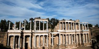 Roman Theater of Merida, Spain, 1st century BC. In a splendid day with blue sky stock photography