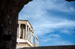 Roman Theater of Merida, Spain, 1st century BC. In a splendid day with blue sky royalty free stock photos