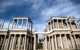 Roman Theater of Merida, Spain, 1st century BC. In a splendid day with blue sky stock image