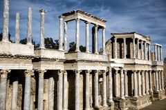 Roman Theater of Merida, Spain, 1st century BC. In a splendid day with blue sky royalty free stock photography