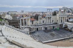Roman theater in oude Plovdiv royalty-vrije stock afbeelding