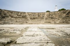 Roman theater Pafos Odeon, Cyprus stock afbeeldingen