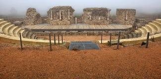 Roman theater of  Regina under the fog Stock Photo