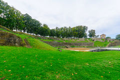 The roman theater remains in Autun Stock Photography