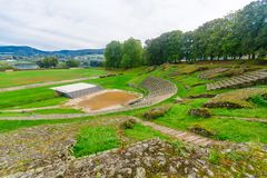 The roman theater remains in Autun. Burgundy, France Royalty Free Stock Images