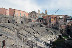 Roman theater ruins in Catania, Stock Image