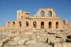Roman theater in Sabratha, Libië Stock Foto's
