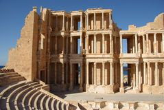 Roman theater in Sabratha, Libië Stock Afbeelding