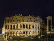 Roman theather marcello imperial ruin rome by night Stock Photography