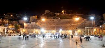 Roman Theatre à Amman (la nuit), Jordanie Images libres de droits