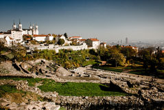 Roman theatre 1. View to Roman theatre with Notre-Dame de Fourviere in Lyon royalty free stock images