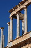 Roman Theatre 2. Colonnade of the top part of the front of the Roman Theatre of Merida Royalty Free Stock Images