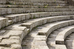 Roman Theatre. Detail of seating and steps of the ancient roman theatre at Ostia Antica near Rome in Italy Stock Image