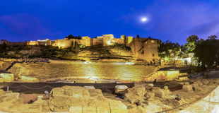 Roman Theatre and the Alcazaba fortress in Malaga Royalty Free Stock Photo