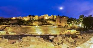 Roman Theatre and the Alcazaba fortress in Malaga royalty free stock photo