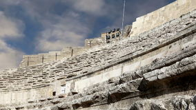 Roman Theatre in Amman, Jordan. Theatre was built the reign of Antonius Pius 138-161 CE, the large and steeply raked structure could seat about 6000 people stock footage