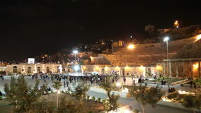 Roman Theatre in Amman (at night), Jordan Stock Photo