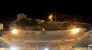 Roman Theatre in Amman (at night), Jordan Stock Photography