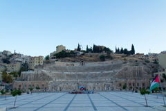 Roman Theatre in Amman at sunset Royalty Free Stock Photos