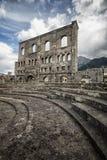 Roman Theatre Aosta, Italien Arkivbilder