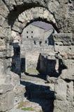Roman Theatre of Aosta. Ruins of the Roman Theatre of Aosta - A.D. 25 BC Royalty Free Stock Photos
