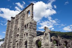 Roman Theatre, Aosta in the Valle D'Aosta Stock Images