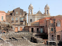 Roman theatre and church - Catania – Sicily Stock Images