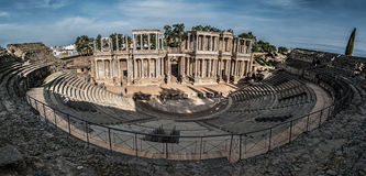 Roman Theatre da vista geral detalhada de Merida fotos de stock