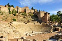 Roman Theatre e Alcazaba, Malaga, a Andaluzia, Espanha imagem de stock