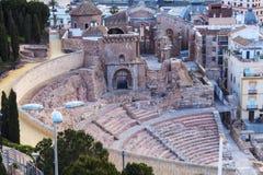 Roman Theatre i Cartagena Arkivfoto