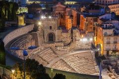 Roman Theatre i Cartagena Arkivfoton