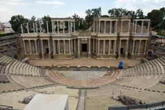Roman Theatre in the Roman city of Emerita Augusta, capital of Lusitania stock photography