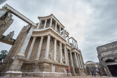 The Roman Theatre in Merida with blurred tourists Royalty Free Stock Photos