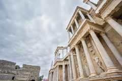 The Roman Theatre in Merida, Spain. Bottom-up View Royalty Free Stock Photos